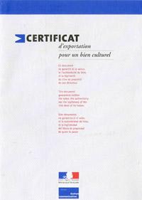 Certificat d'exportation BCA Matériaux Anciens