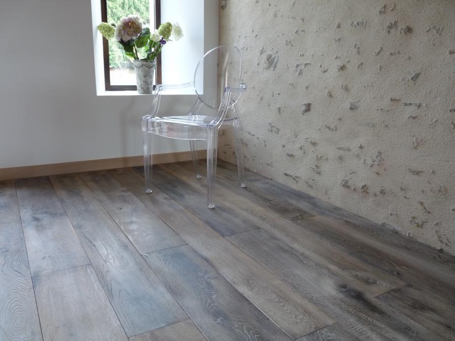 parquet vieilli en ch ne naturel gris poivre bca mat riaux anciens. Black Bedroom Furniture Sets. Home Design Ideas