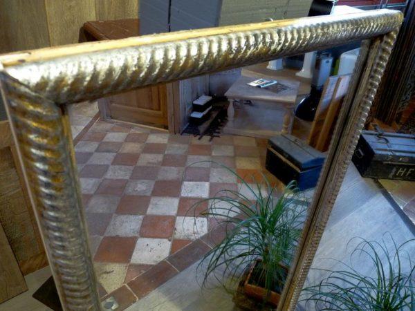 miroir ancien or platine bois