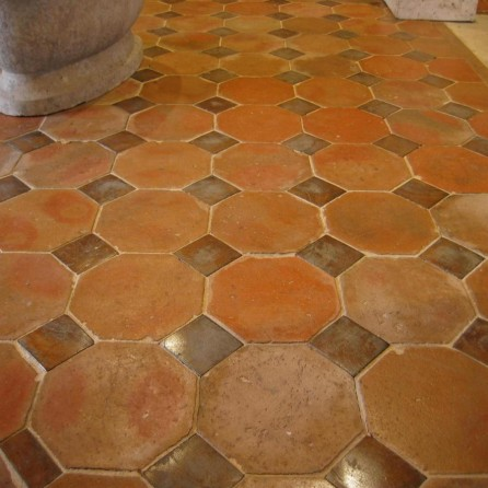 octagonal tiles with oak inserts