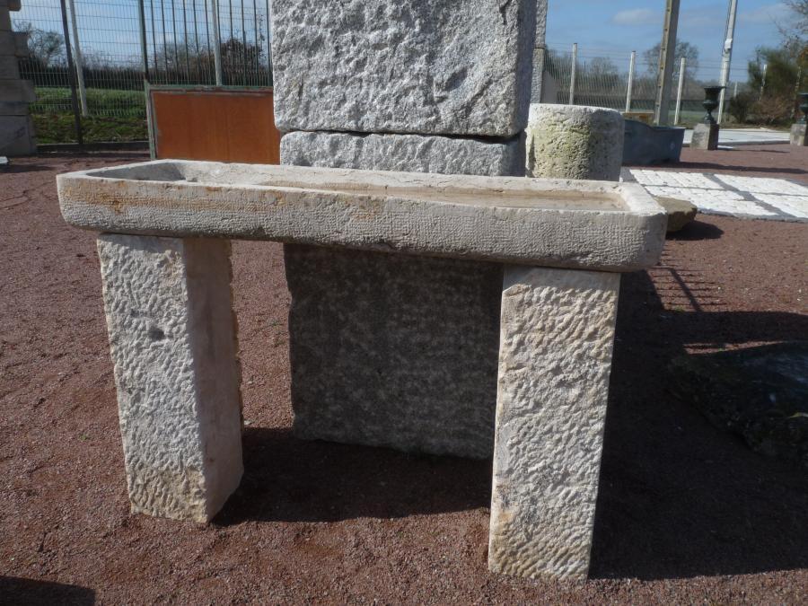 Evier ancien en pierre calcaire pierre plate sur 2 jambages - Table en pierre exterieur ...