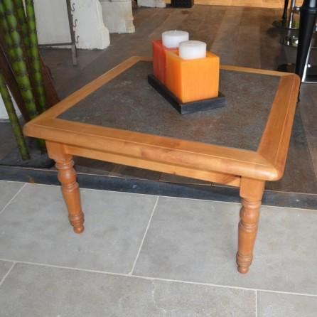 Table basse bois et ardoise 75 cm de largeur bca for Bureau 75 cm largeur