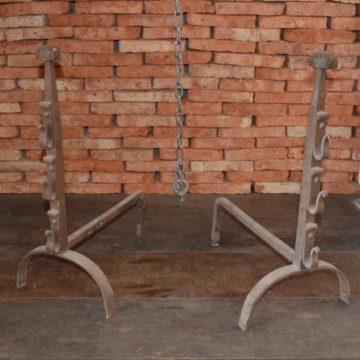 Chenet cheminée ancien en fer forgé