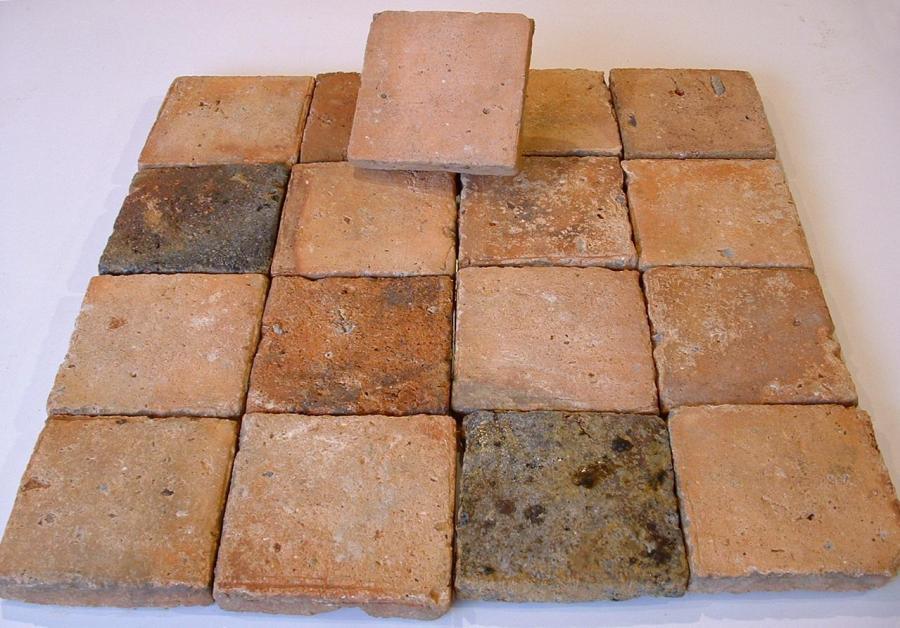 Carrelage ancien en terre cuite 14x14cm for Carrelage ancien terre cuite