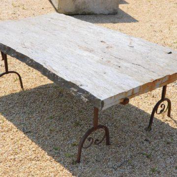 table jardin schiste fer forge