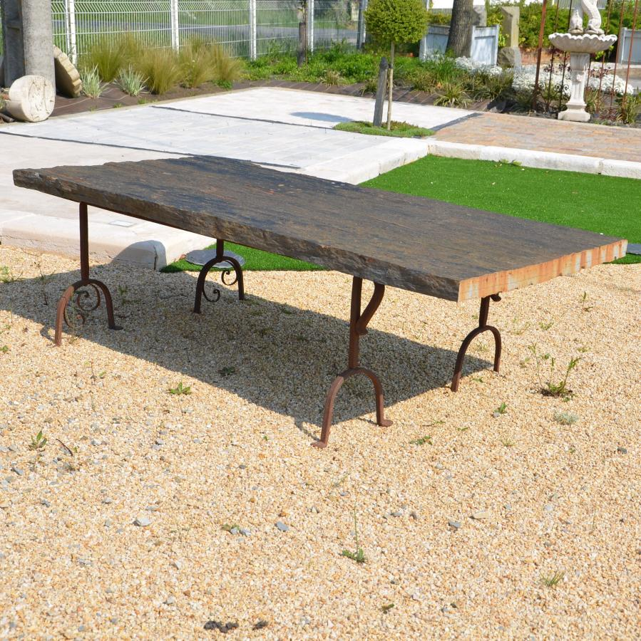 table de jardin en schiste et fer forg bca mat riaux anciens. Black Bedroom Furniture Sets. Home Design Ideas