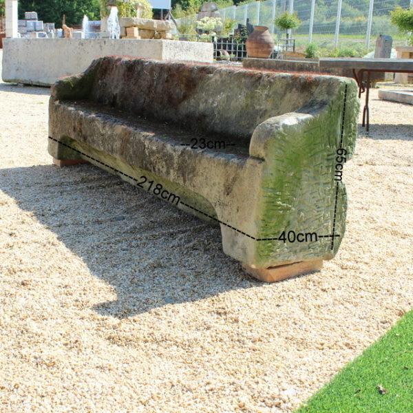 banc ancien pierre grès