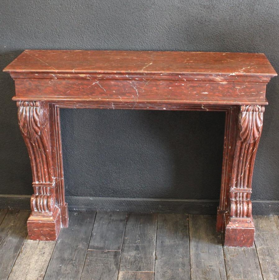 chemin e en marbre rouge griotte napol on iii bca mat riaux anciens. Black Bedroom Furniture Sets. Home Design Ideas