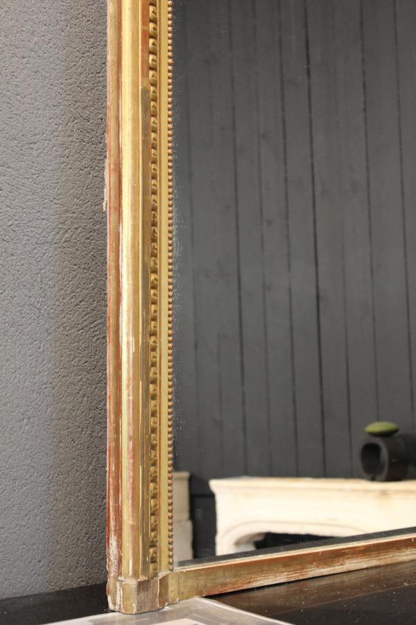miroir rectangle ancien moulure doree