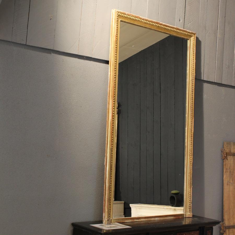 Miroir rectangle ancien moulure doree for Miroir moulure