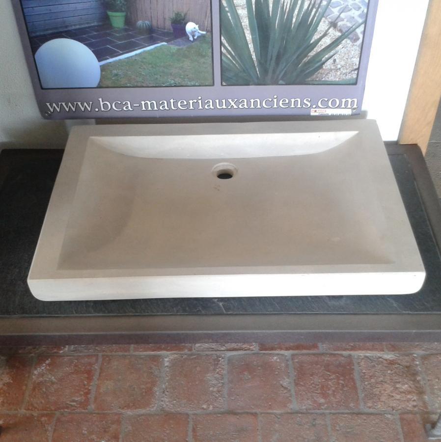 Vasque rectangulaire en pierre naturelle bca mat riaux anciens - Evier en pierre naturelle ...