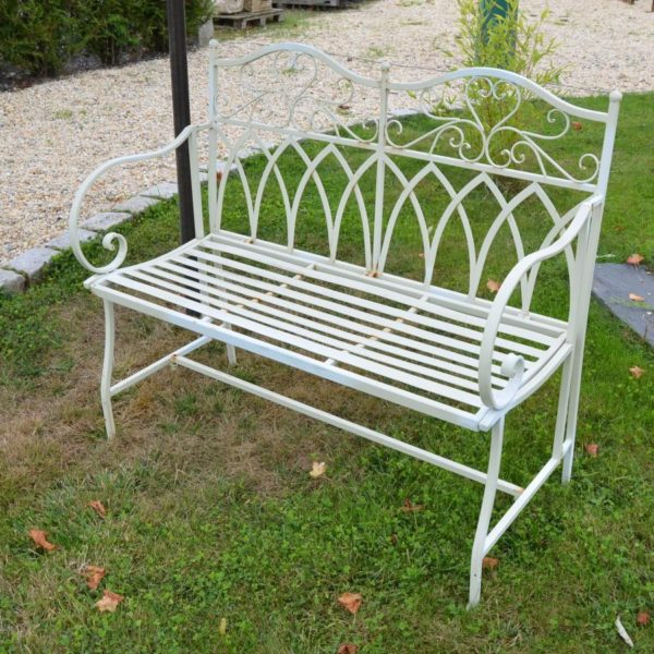 Banc de jardin metal blanc - Aspect ancien