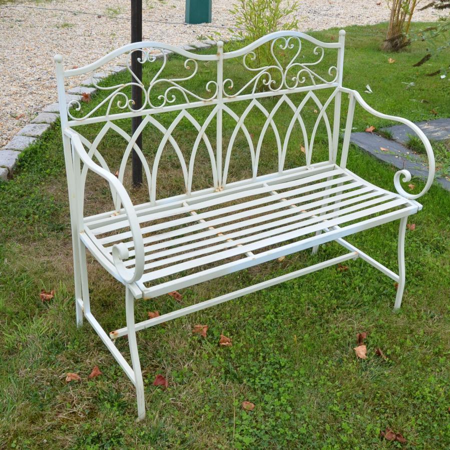 banc de jardin metal blanc aspect ancien bca mat riaux