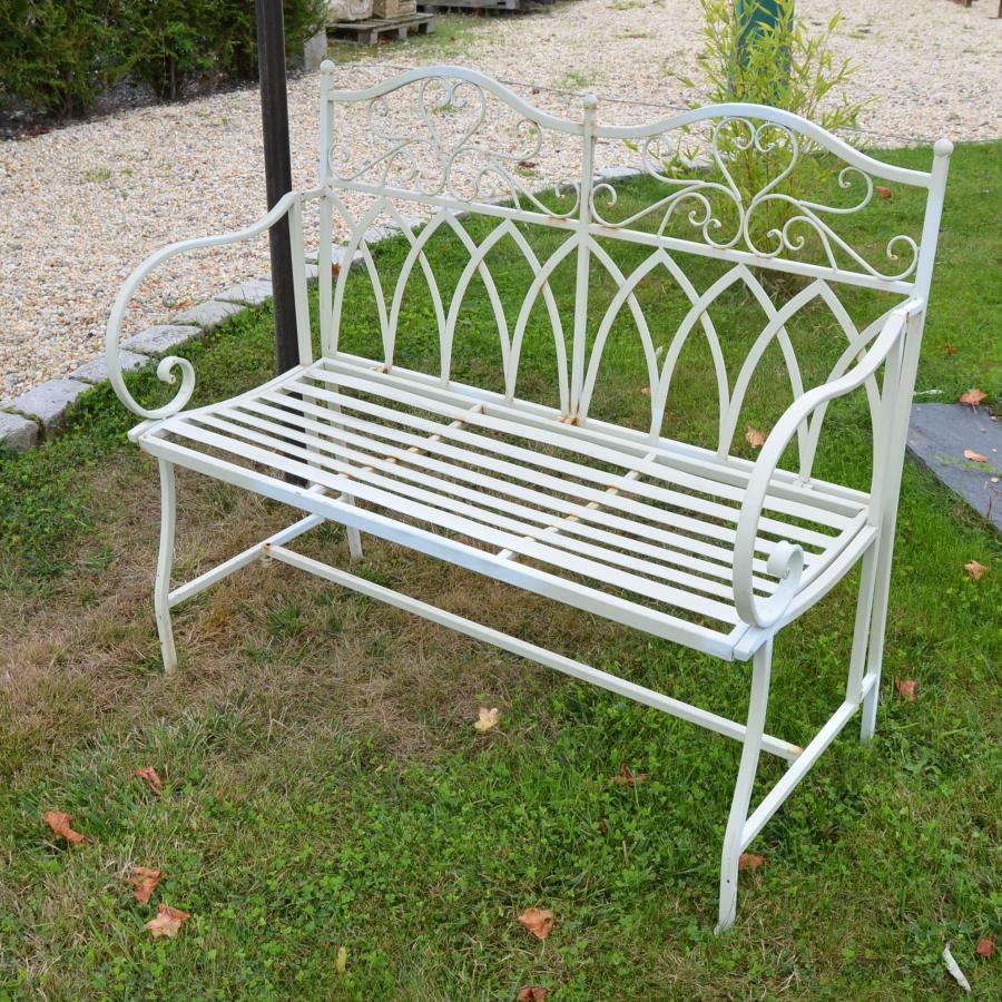 Banc de jardin metal blanc aspect ancien bca mat riaux - Banc en metal pour jardin ...
