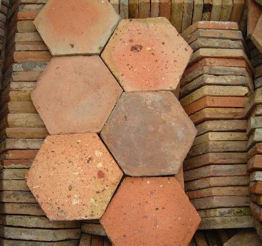 vieille tomette ancienne hexagonale terre cuite