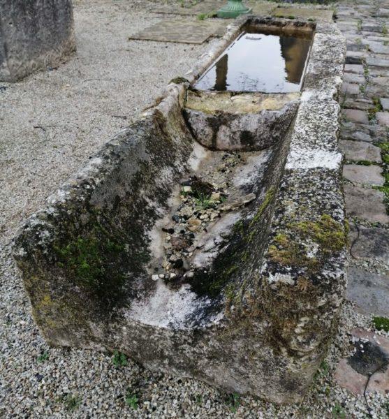 auge de recuperation ancienne avec mousse et pierre
