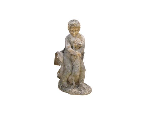 statue en pierre calcaire cherubin