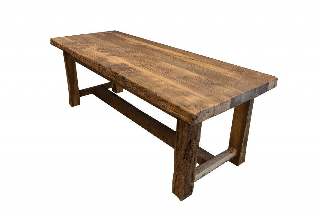 Table en vieux ch ne de r cup ration fabrication r cente for Recuperation de vieux meubles