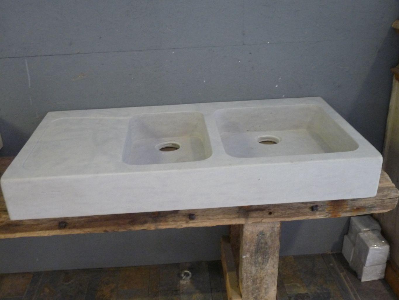 Evier gris en pierre calcaire double bac for Evier double bac