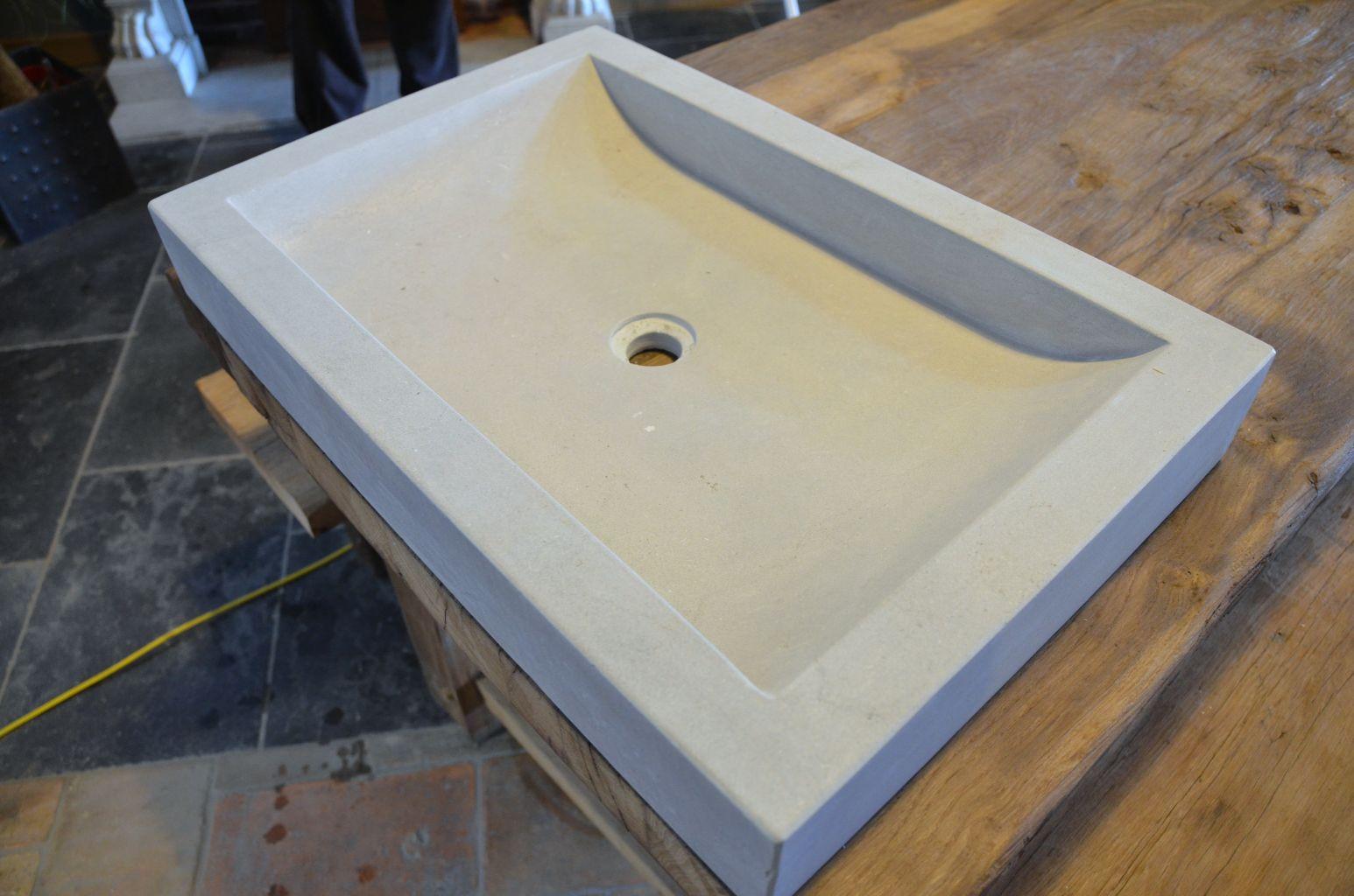 evier pierre naturelle beige rectangulaire bca. Black Bedroom Furniture Sets. Home Design Ideas