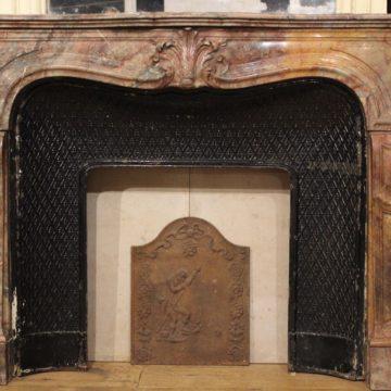 Cheminée Ancienne en Marbre avec son Miroir - Style Régence