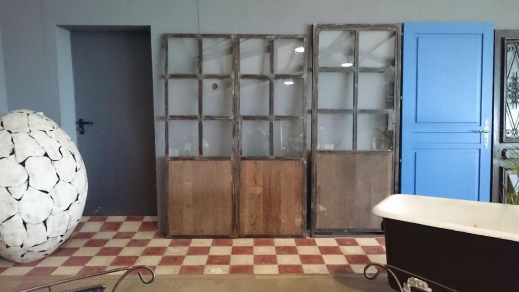 porte double en fer et bois dimensions 140x203 cm. Black Bedroom Furniture Sets. Home Design Ideas