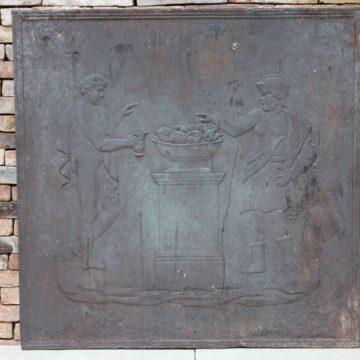 Plaque de cheminée ancienne en fonte époque XIXème