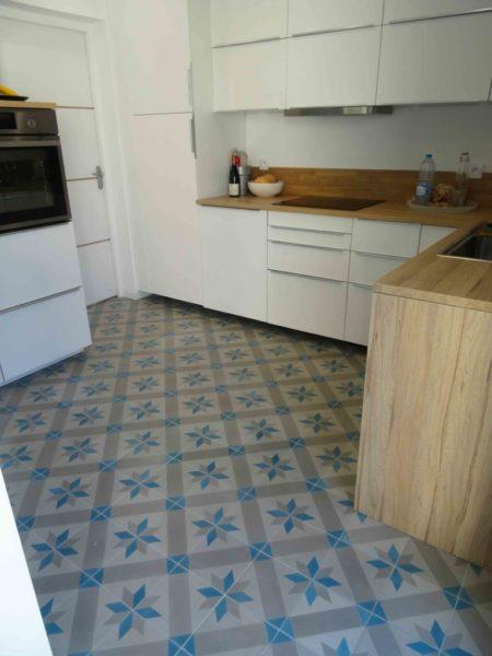 carreaux de ciment réalisation dans cuisine