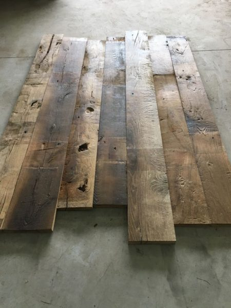 Lames de plancher ancien en chêne et châtaigner