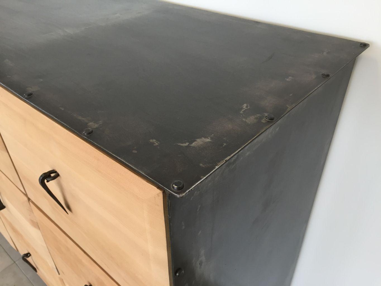 meuble en fer forg et bois exotique 9 tiroirs