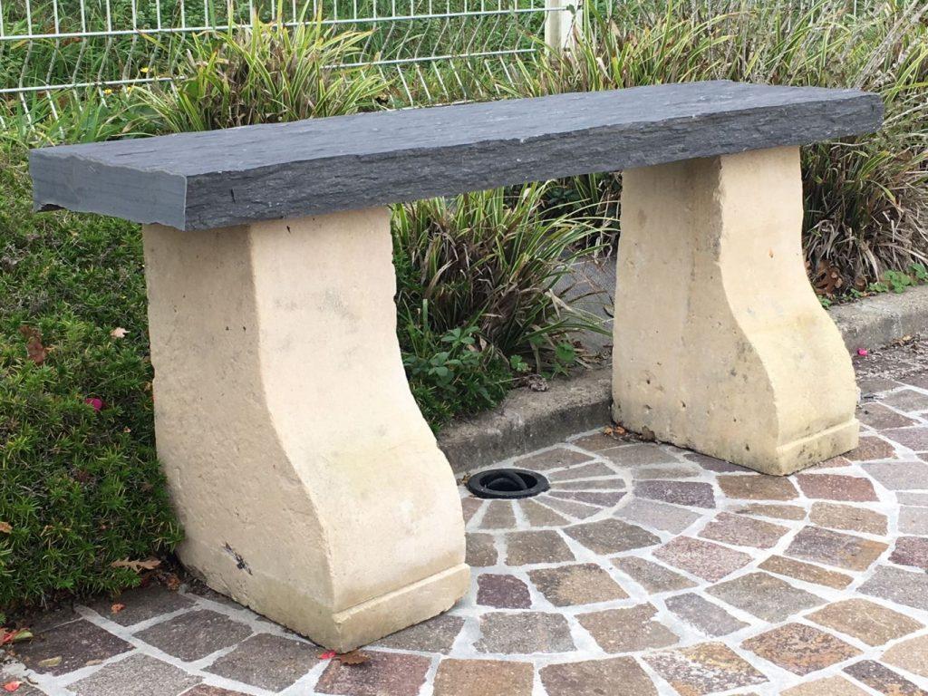 Banc en pierre et schiste longueur 120 cm bca for Bancs de jardin anciens