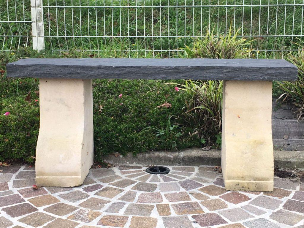 Banc en pierre et schiste longueur 120 cm bca - Banc jardin pierre ...