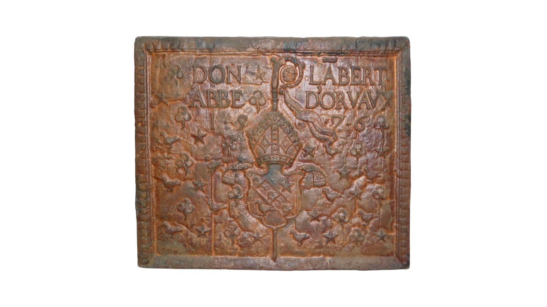 plaque de chemin e ancienne en fonte date 1576 bca. Black Bedroom Furniture Sets. Home Design Ideas