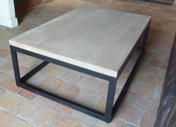 table basse chêne et métal