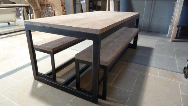 table de salon bois et métal