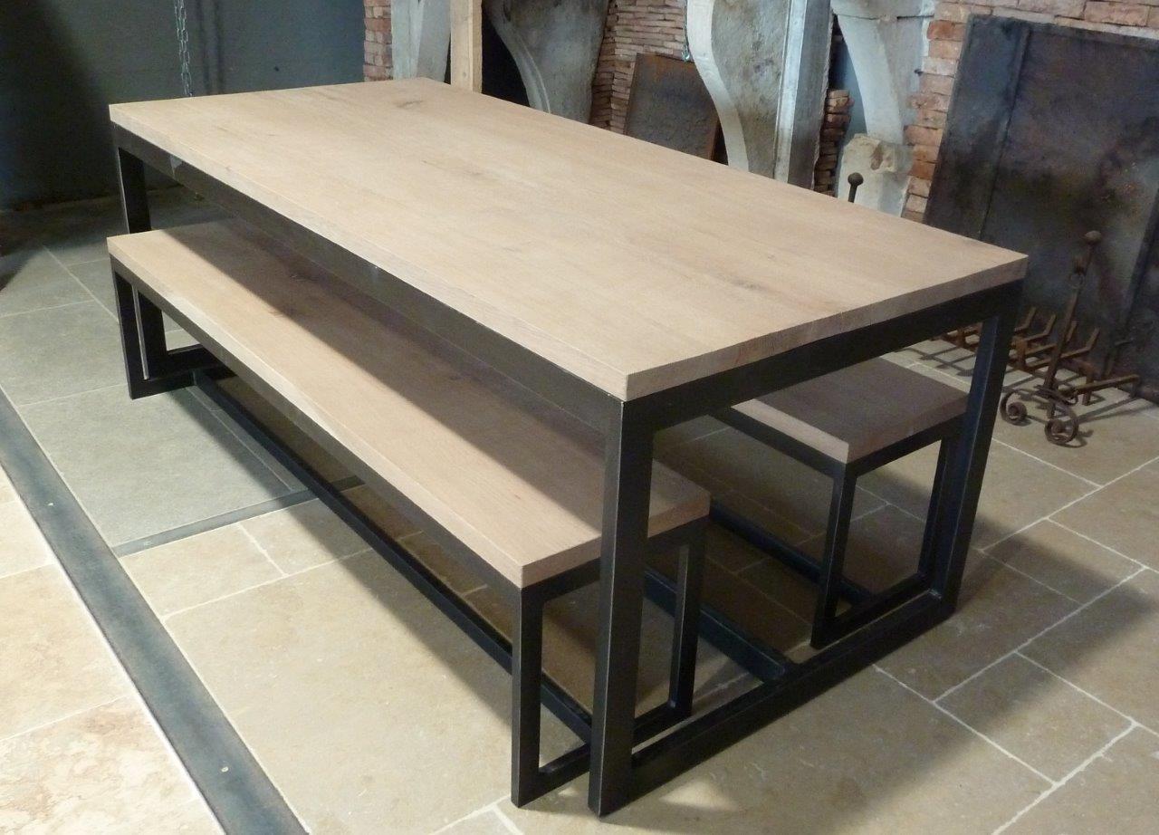 table de salon en bois et m tal et bancs bca mat riaux anciens. Black Bedroom Furniture Sets. Home Design Ideas