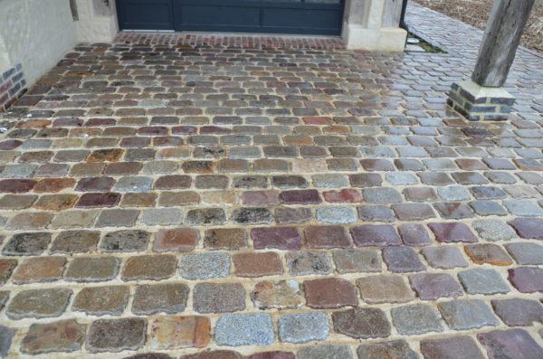 lot de pavés de rue en grès et en granit