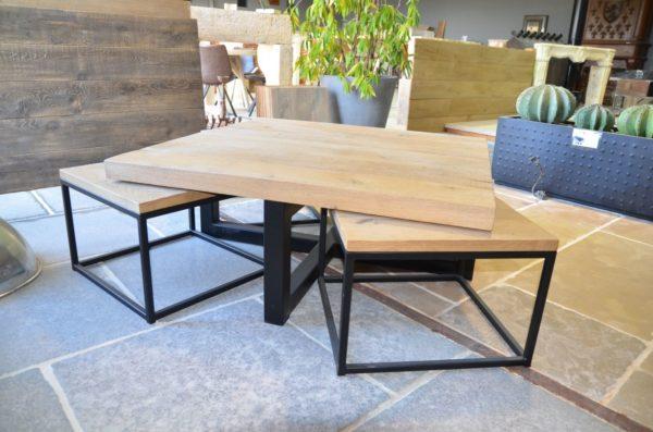table gigogne design industriel bois chene