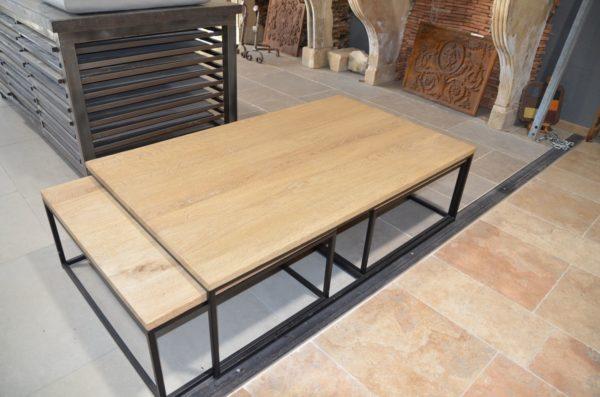 table bois style industriel metal