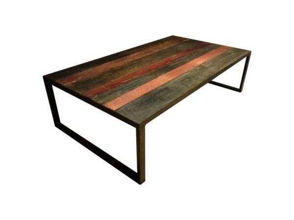 grande table basse en bois et metal avec deux couleurs