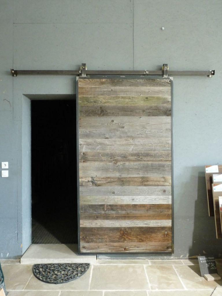 Vieille Porte En Bois Coulissante porte coulissante en sapin - porte ancienne | bca matériaux