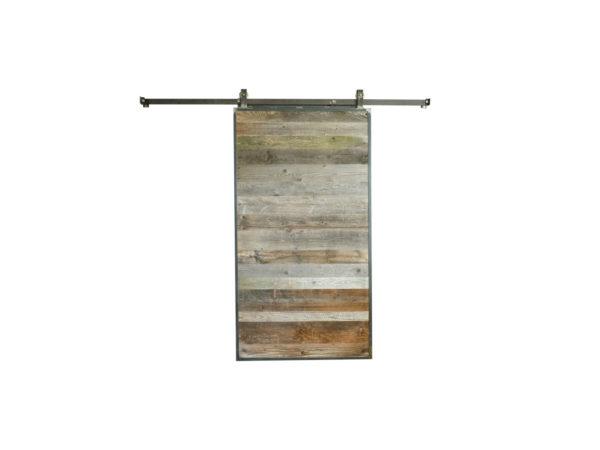 porte coulissante en bois ancien et metal