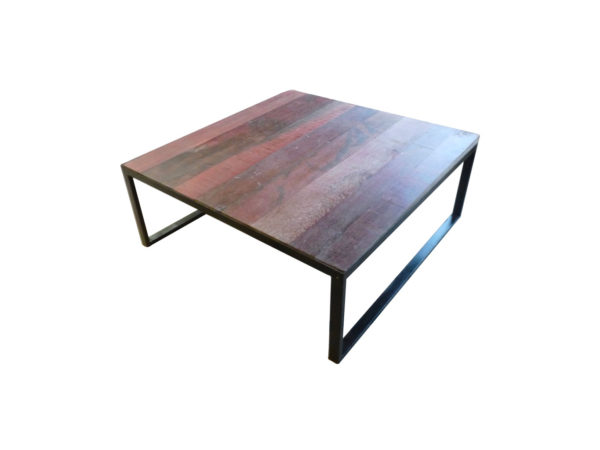 table basse bois rouge