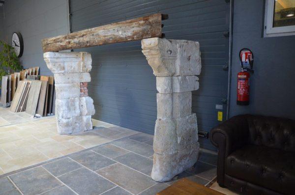 cheminée avec linteau en chene