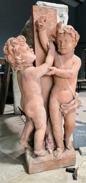 statue terre cuite cherubins ange anciens