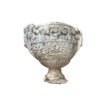 vasque antique à deux têtes en pierre reconstitués