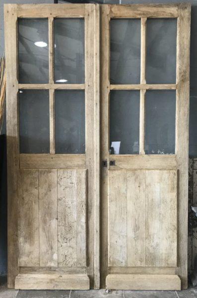 double porte ancienne votré en chêne de face