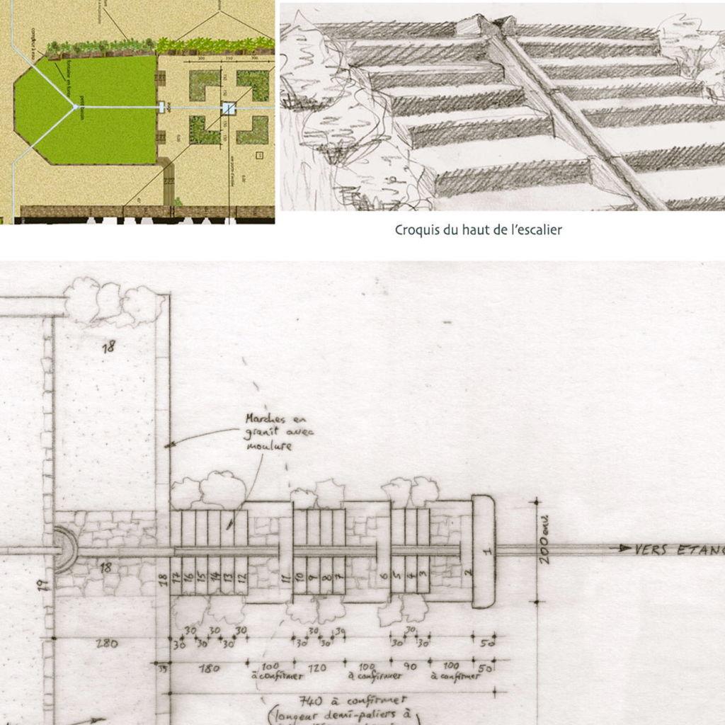 plan de la renovation des marches et caniveau ancien