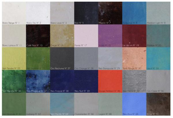 références de couleurs de zelliges faits main