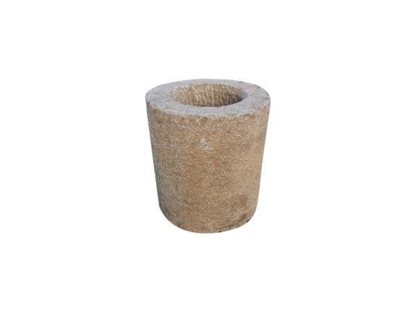 bac à fleurs rond en pierre calcaire